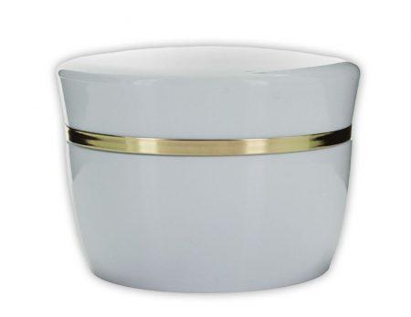 Kozmetikai tégely fehér - arany csíkkal 50 ml