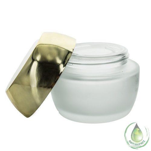 Dekoratív kozmetikai tégely matt + kúpos arany fedéllel 50 ml