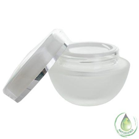 Dekoratív kozmetikai tégely matt + fehér fedél ezüst csíkkal 50 ml