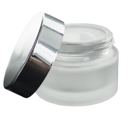 Kozmetikai üvegtégely 30 ml natúr, matt + ezüst tető