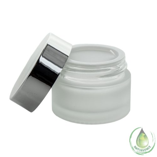 Kozmetikai üvegtégely ezüst fedéllel 15 ml